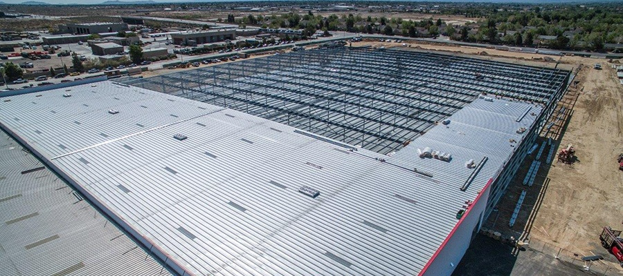 Aerial view of a Comemrcial Pre-Fabricated Metal Building